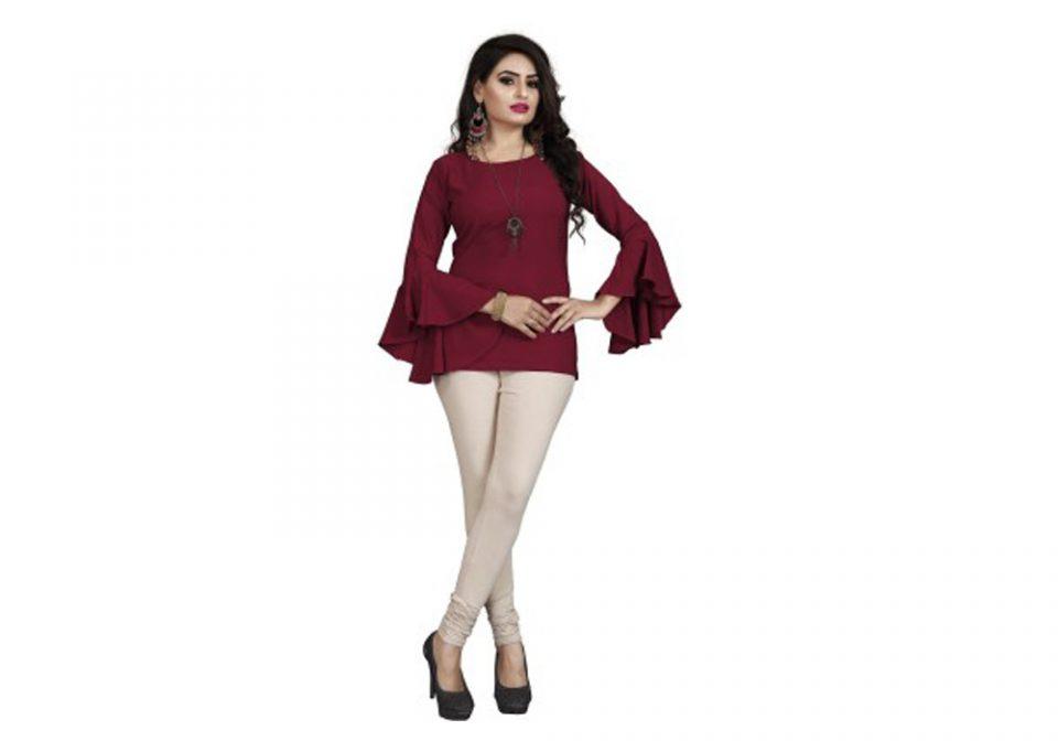 Gadhesariya-Casual-Bell-Sleeve-Solid-Women-Maroon-Top-Valsad-ValsadOnline