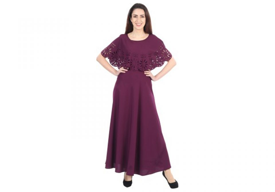 Iqra-Fashion-Women-Gown-Maroon-Dress-Valsad-ValsadOnline